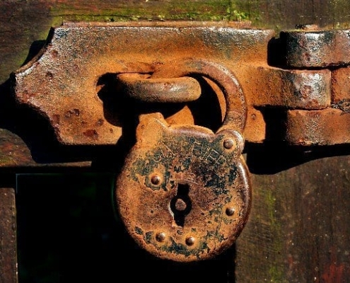 old rusty lock on door