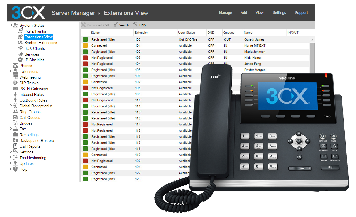 3cx voip manager screen shot